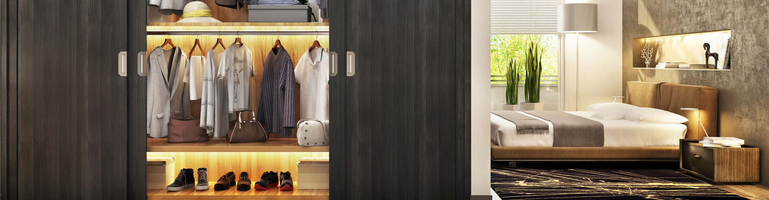 Black Wardrobes with Wooden Shelves by Instyle Wardrobes