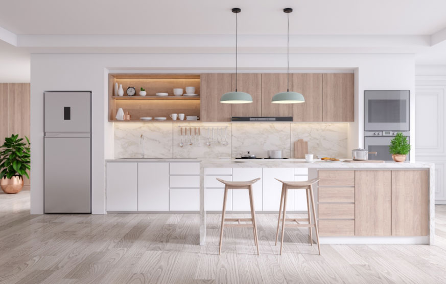 Wheat Wooden and White Kitchen Cabinets and Drawers by Instyle Wardrobes
