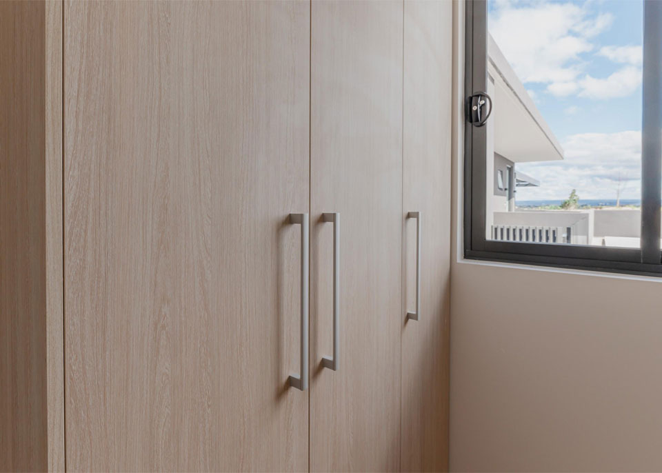 Wheat Wooden Wardrobes with Silver Handles by Instyle Wardrobes