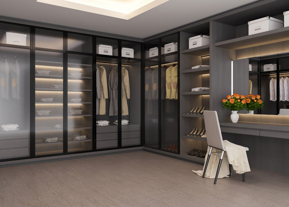 Glass Wardrobes with Black Strips by Instyle Wardrobes