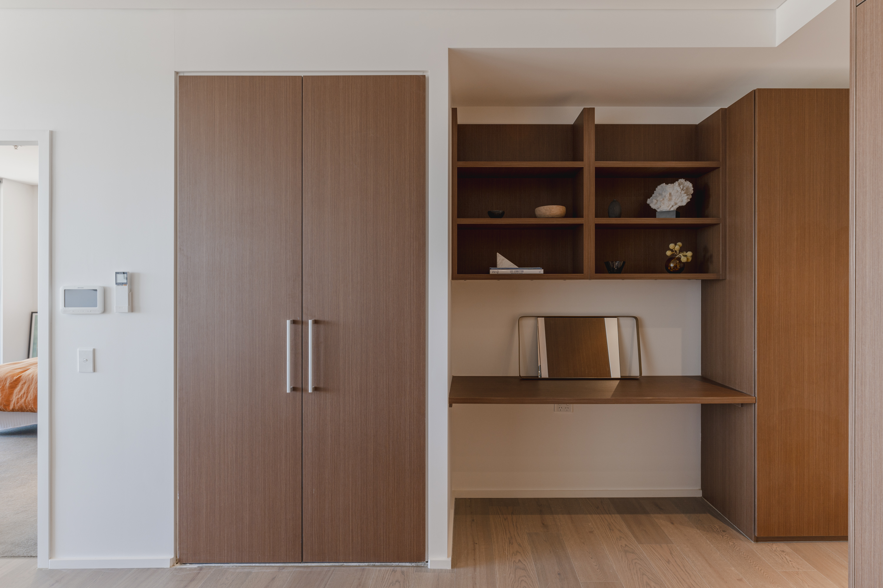 Brown Wardrobes with Silver Handles and Brown Shelves by Instyle Wardrobes
